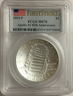 2019-P PCGS MS70 1oz APOLLO SILVER DOLLAR .999 FIRST STRIKE FLAG MS 70 #F1