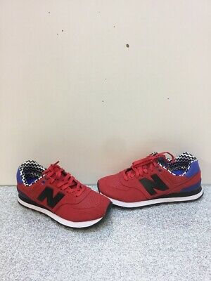 new style 26eaa 5bb17 NEW BALANCE CLASSIC 574 Red/Black Synthetic Leather Lace Up Shoes Women's  Sz 7 B