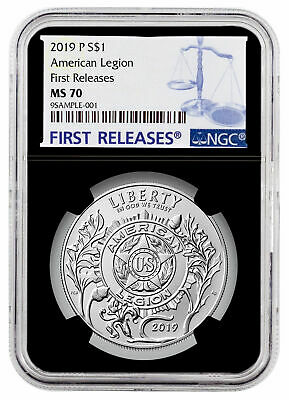 2019 P American Legion 100th Silver Dollar NGC MS70 FR Black Core SKU57429