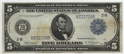 1914 $5 Federal Reserve Note 2-B New York - Large Currency Five Dollars - BA336