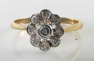 Dainty 9K 9Ct All Diamond Art Deco Edwardian Ins Daisy Ring Free Resize