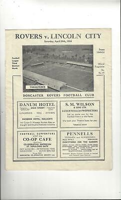Doncaster Rovers v Lincoln City Football Programme 1949/50
