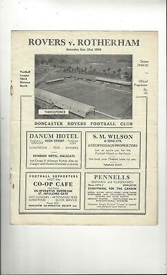 Doncaster Rovers v Rotherham United Football Programme 1949/50