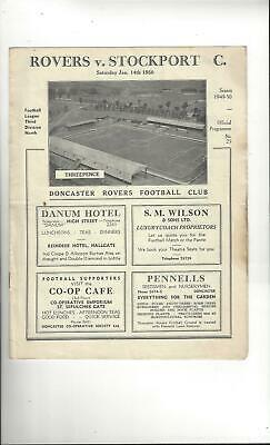 Doncaster Rovers v Stockport County Football Programme 1949/50
