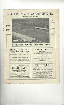 Doncaster Rovers v Tranmere Rovers Football Programme 1949/50