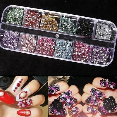 3600pcs Nail Art Rhinestones Decoration DIY for UV Gel Acrylic Systems 2mm