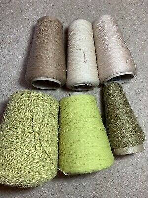 Neutral And Green Yarn Mix For Machine Knitting, including yeoman yarns