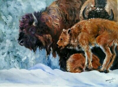 """FAMILY DAY 8n 5he SNOW  oil on canvas 14x20"""" a gorgeous bison family AWESOME!"""