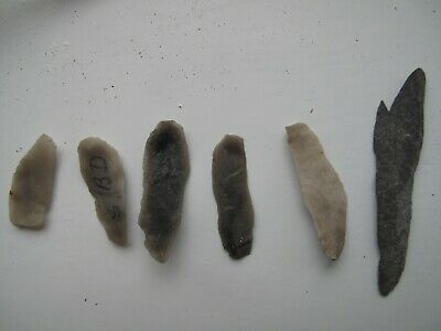Palaeolithic microliths (Six) - probably from Kent.
