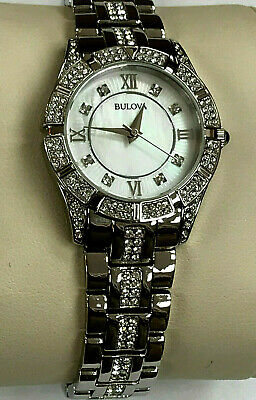 Bulova 96L116 Crystals White Mother of Pearl Dial Ladies Quartz Watch WARRANTY