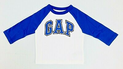 Baby Boys Gap Logo T-Shirt White and Blue Cotton Size 6-12 12-18 Months