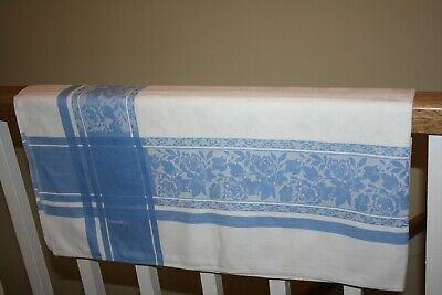"Vintage cotton Damask Table cloth 52"" x 52"" approx  - Blue & White"