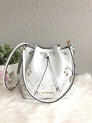 337cb3378a0e Michael Kors Trista Medium Bucket Bag Shoulder Studded White Leather Tote  $398