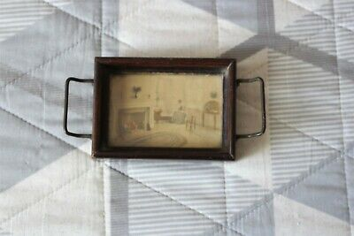 Antique Fred Thompson Oddities Pictures Miniature Scenic Girl with Baby Art Tray