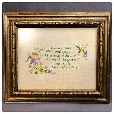 Vintage Framed 11 x 13 Needlepoint Floral Picture Friends And Treasure Sentiment