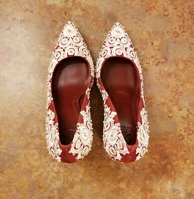 2934f10f45b1 NEW TORY BURCH Francesca Embroidered Pump Tuscan Wine Ivory Sz 9.5 M ...