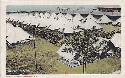 WWI US Troops in Camp Postcard 1918-1919