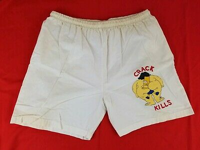Vintage The Simpsons Bart Simpson Crack Kills Beige Shorts Sz XL Made in USA