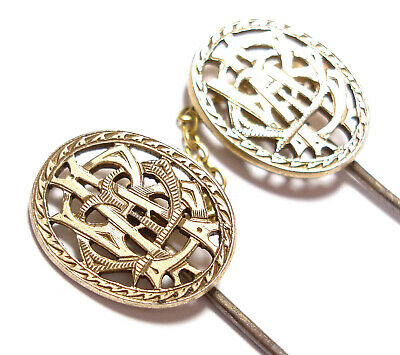 Beautiful Victorian Monogrammed Silver Topped Stick Pins