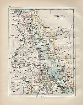 1901 Victorian Map ~ Red Sea ~ Arabia Egypt