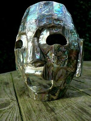 Mother Of Pearl Mosaic Mask Made In Mexico 3/97 Burial Death Mask Collector