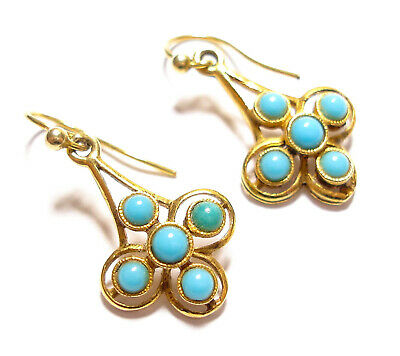 Beautiful Vintage Or Modern 9Ct Gold & Turquoise Paste Stone Earrings