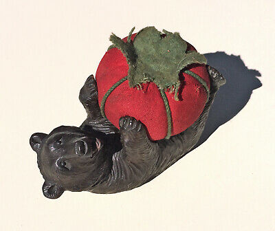 RARE Antique Black Forest Wooden BEAR Carved PINCUSHION Sewing Tomato Glass Eyes