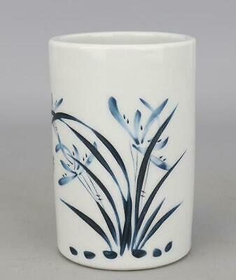 Chinese Old Hand Made Famille-rose Porcelain Orchid Brush Pot /guagnxu Mark B02