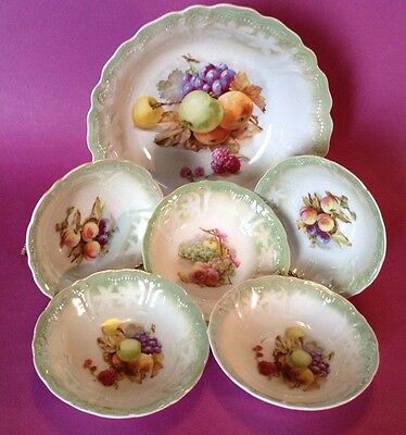 Berry Bowl Set - Green And White - Hand Painted Bavarian Style Fruit - Germany