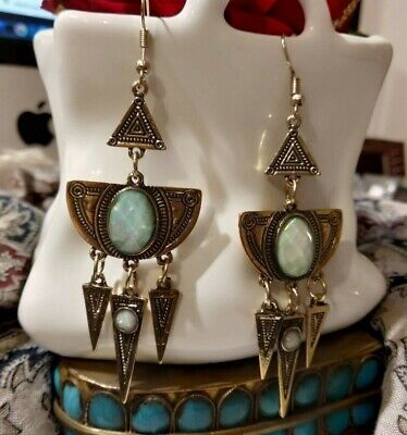 Drop Earrings design byzantine Crystal faceted colour Opal x Hole