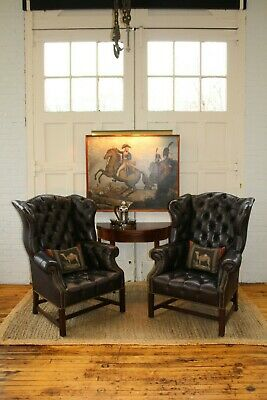 Antique Pair Gaston Tufted Oversized Leather Wing Back Arm Chairs Fireside