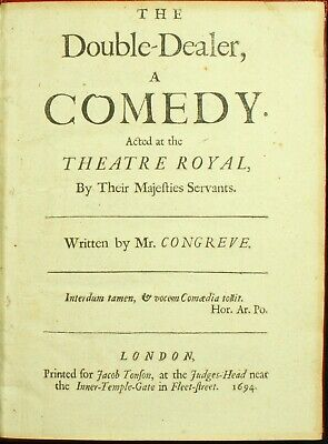 William Congreve THE DOUBLE-DEALER 1694 Restoration Comedy Dryden 1ST EDITION NR