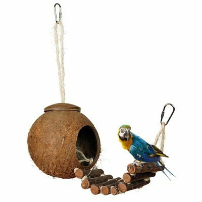 Natural Coconut Shell Bird Nesting Cage Hanging House Ball Ladder Lanyard Toy -U
