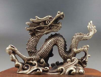 Chinese old  Silver Bronze Carved luck dragon Statues b01