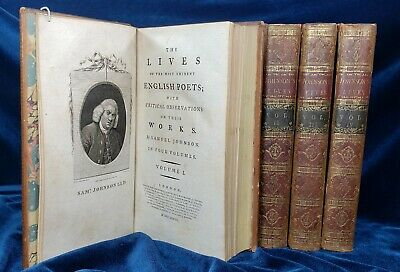 Samuel Johnson THE LIVES OF THE POETS 1781 2 vols 18th C. Calf Pope Milton 1STNR
