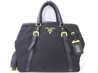 ddcbe4007b957f Auth PRADA Hand Shoulder Bag 2Way Nylon Leather Black Italy 0 Ship  25160022100 G