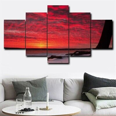 5Pcs Seaside Red Sunset Glow HD Modern Home Art Decor Canvas Oil Wall Painting