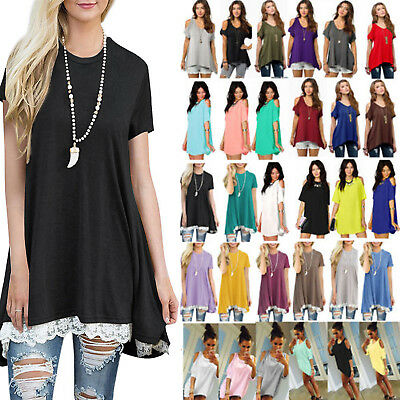 3378a92d Plus Size Women Summer Blouse Short Sleeve T-Shirt Loose Tunic Long Tops  Shirt