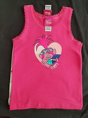 Girls new TROLLS twin pack singlets size 3-4