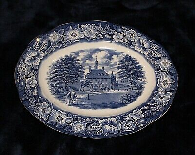 """Staffordshire Liberty Blue Oval Platter  Governor's House Williamsburg 12"""""""
