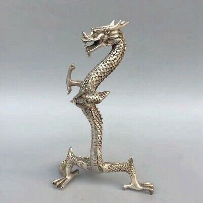 Collect Antique Tibet Silver Carved Myth Dragon Moral Exorcism Auspicious Statue