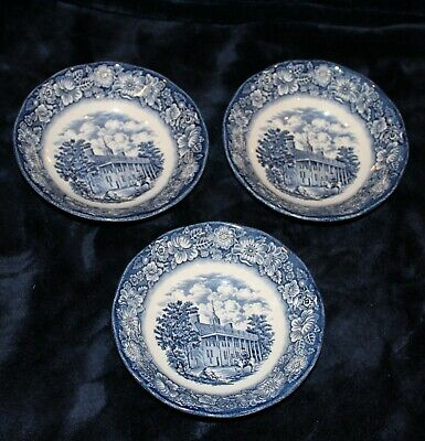 3 Vintage Staffordshire Liberty Blue China, Soup, Cereal Bowls, Mount Vernon