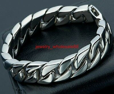 8.66'' Pure Stainless Steel Cuban Curb Link Chain Bracelet Shiny Polished 15mm