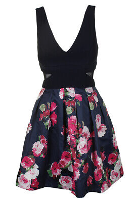 3001ab71 XSCAPE BLACK PINK Sleeveless Illusion-Inset Floral-Print Fit & Flare ...