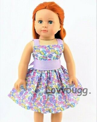 """Easter Egg Dress for American Girl 18 inch or Bitty Baby 15"""" Doll Clothes US SLR"""
