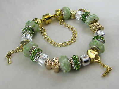 "925 STAMPED GOLDEN 20cm EUROPEAN STYLE CHARM BRACELET ""SUMPTUOUS GOLD & GREEN"""