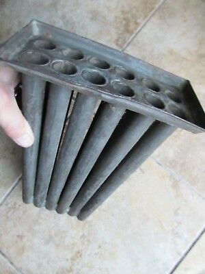 EARLY Antique COLONIAL 12 Tube Tin Candle Mold, Handmade, c1780, Hearthware GIFT