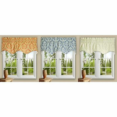 """Meadow Solid Lined Scallop Window Valance By Ellis Curtain 50 x15/"""""""