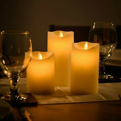 3 Large Wax Flameless Flickering Candle LED Lights w/ Remote Control