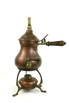 Antique Arts & Crafts Copper & Brass Samovar Trivet Burner Hammered c.1909